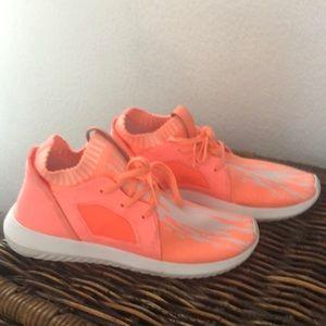 Size 8.5 neon orange adidas sneakers